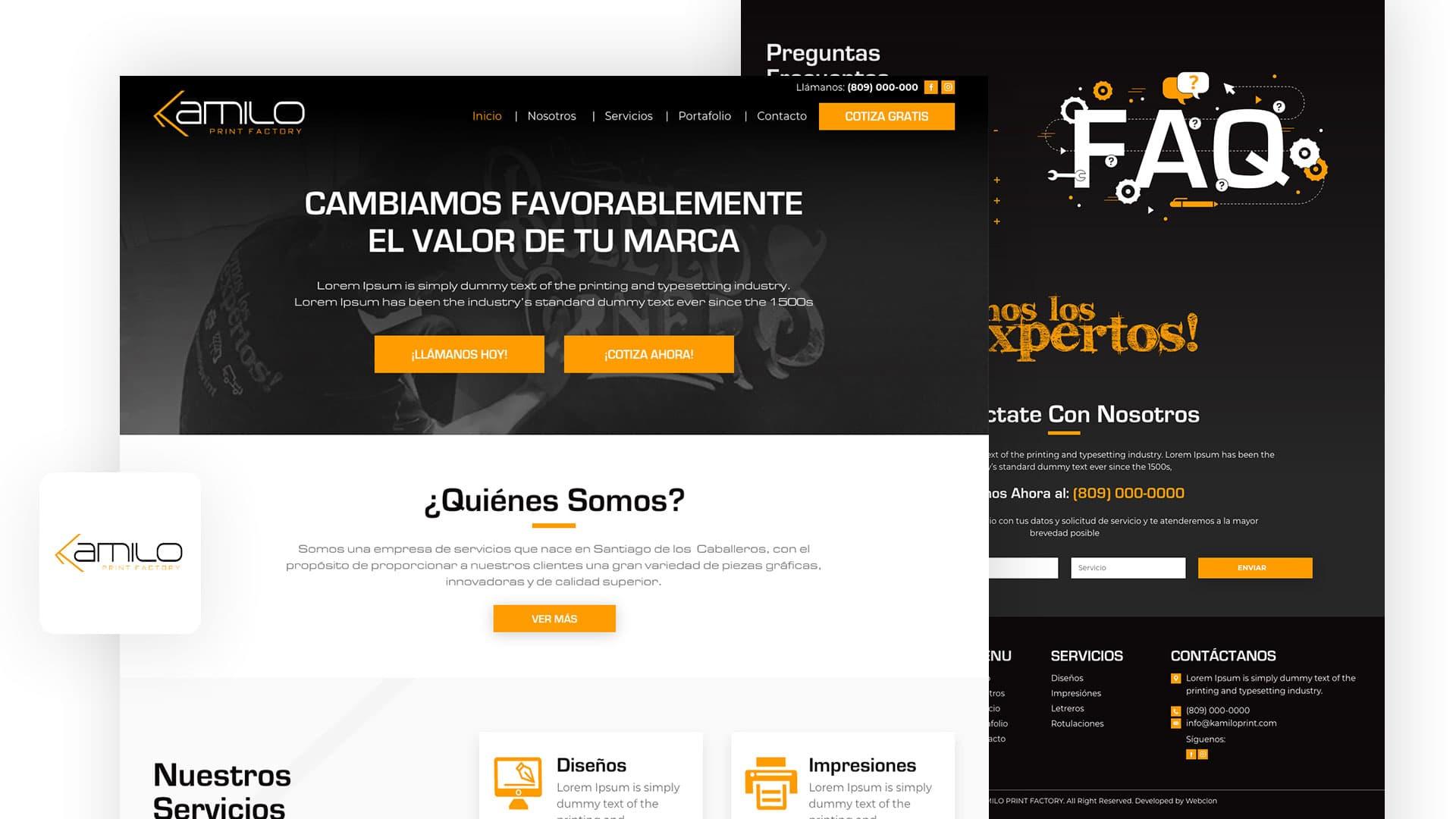 Kamilo Print Factory, imprenta, website, pagina web, diseño, template, amarillo, negro