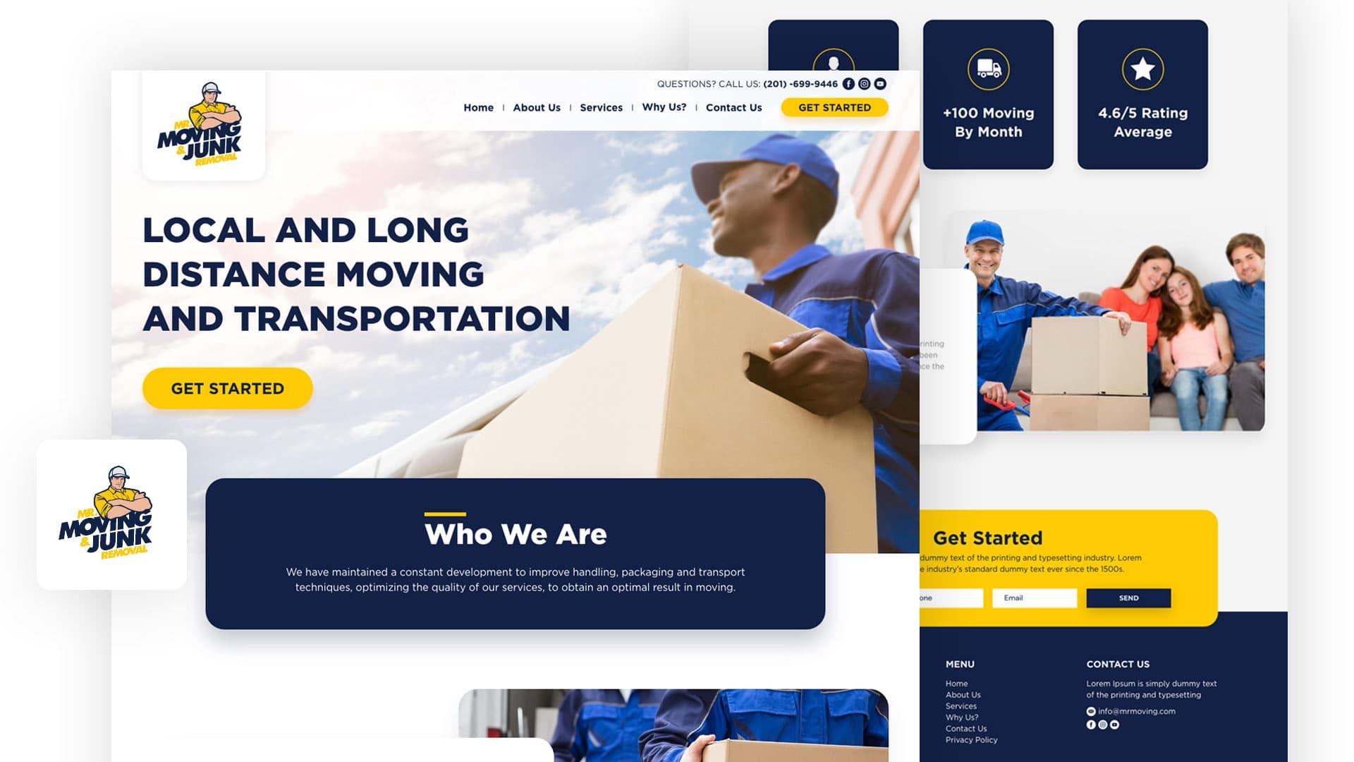 Movin, Junk, quienes somos, template, website, blanco, amarillo, azul oscuro, cajas, carga