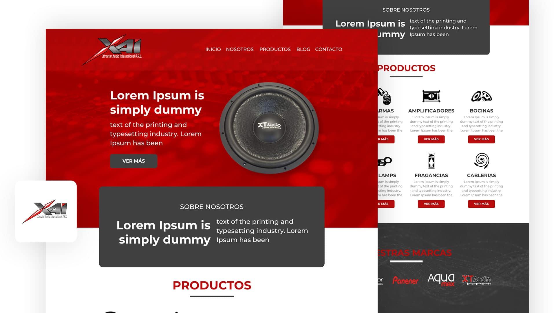 template pagina web, rojo, gris oscuro, logo, bocinas, audio